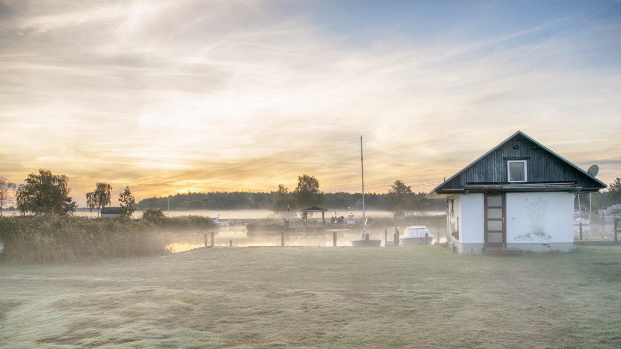 Morgennebel über Land und Wasser