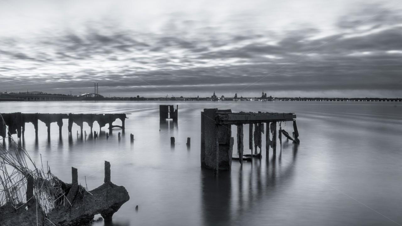 Blick von Altefähr auf Stralsund